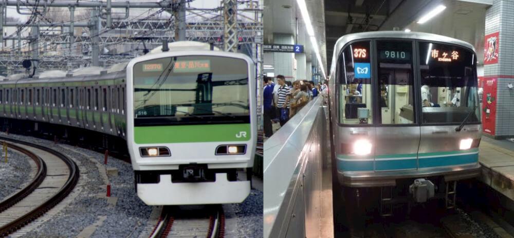 Left: JR Yamanote Line (railway). Right: Tokyo Metro Nanboku Line (subway)